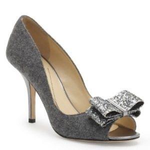 "Kate Spade Casie Flannel Glitter 3.5"" Heel Peep"